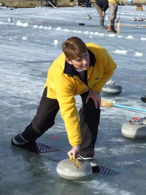 Cambrian curler Sue Ingram eyes up the options on the Idaburn Dam yesterday during the Wilson Cup...