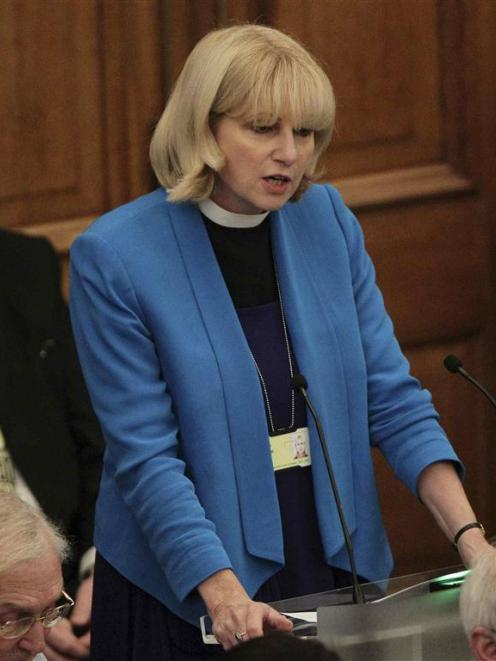 Canon Rosie Harper speaks at the Assembly Hall of Church House, during a meeting of the General...