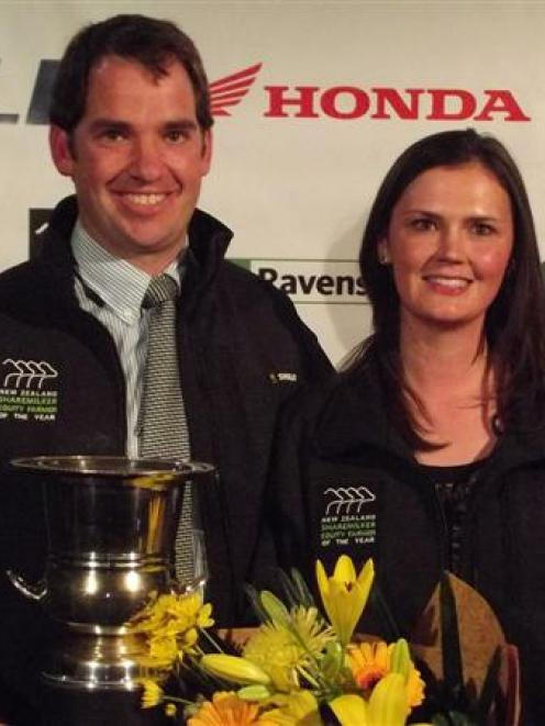 Canterbury North Otago sharemilker-equity farmer of the year winners Morgan and Hayley Easton,...
