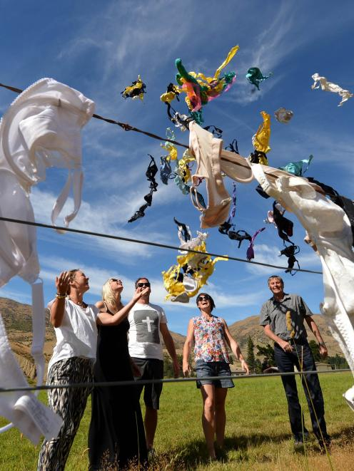 Cardrona's bra fence last year. Fence founder John Lee is at right. Photo from the ODT files.