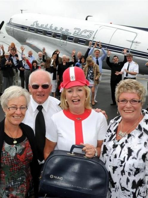 Carolyn Murray (second from right) celebrated her 60th birthday yesterday with a DC3 flight with...