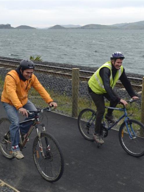 Cassino Doyle (left) and Jim Fyfe use the officially open section of  the walking and cycling...