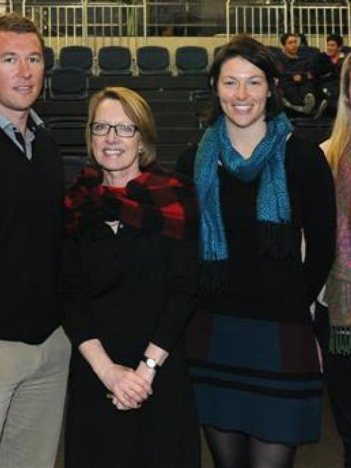 Catching up in Dunedin recently were (from left) Hayley Jenkins-McCaw,  Andrew Ritchie (ASB), ...