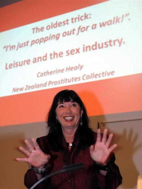 Catherine Healy, New Zealand Prostitutes Collective national co-ordinator, speaks in Dunedin...