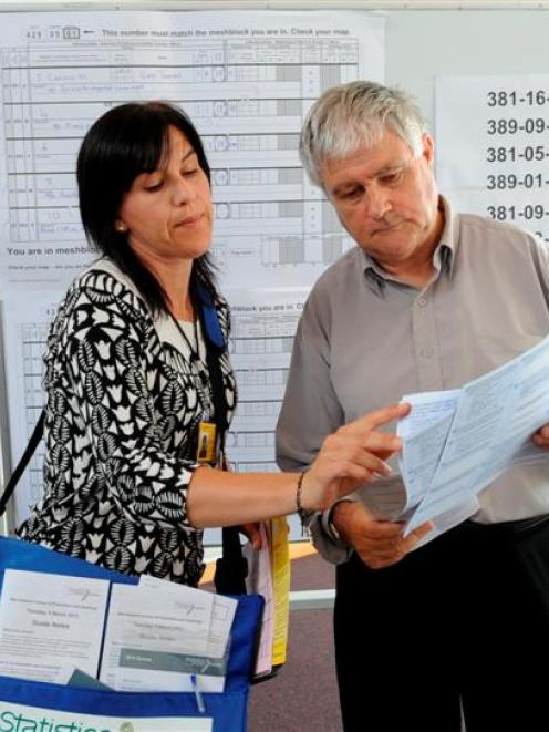 Census collector Melanie Eady and St Kilda district supervisor Bruce Beath role-play at a...