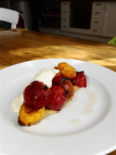 Central Otago fruits, baked on sourdough bread and served with crème fraiche. Photo by Gregor...