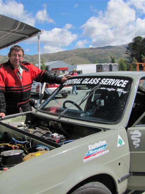 Central Otago Motorsport Club president Grant Keen, of Cromwell, gives his Alfa Romeo Alfasud a...