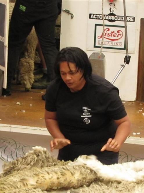 Central Otago wool handler Taiwha Nelson in action at the New Zealand Corriedale wool-handling...