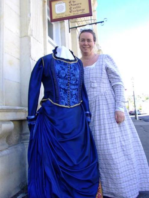 Chantel Jones with her most elaborate Victorian costume creation outside the Oamaru Textile...