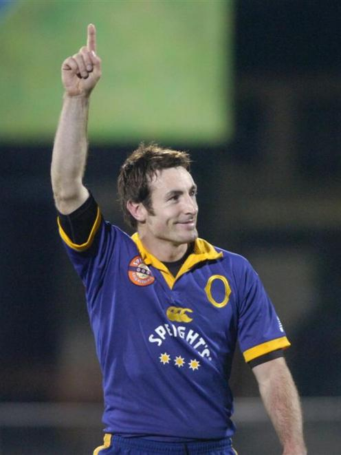 Charlie Hore acknowledges the crowd after he leads Otago to a win over Northland at Carisbrook in...