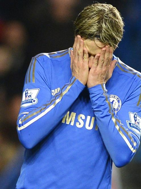 Chelsea's Fernando Torres reacts following a missed chance against Manchester City.  REUTERS...