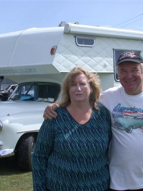 Chevrolet fans Lynda and Ian Gillespie with their 1952 Styleline camper van, created by Mr...