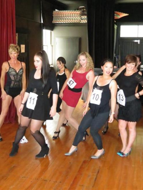 Chicago audition contenders (from left) Jen Shirra, Tania Carter, Isobella Reid, Melita Gizilis,...