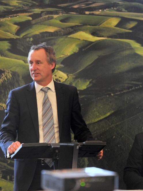 Chief executive Dean Hamilton addresses Silver Fern Farms' annual meeting in Dunedin yesterday,...