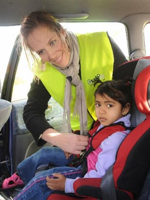 Child Restraint Technician Mandy Fisher Adjusts The On Namrata Chand 4 At
