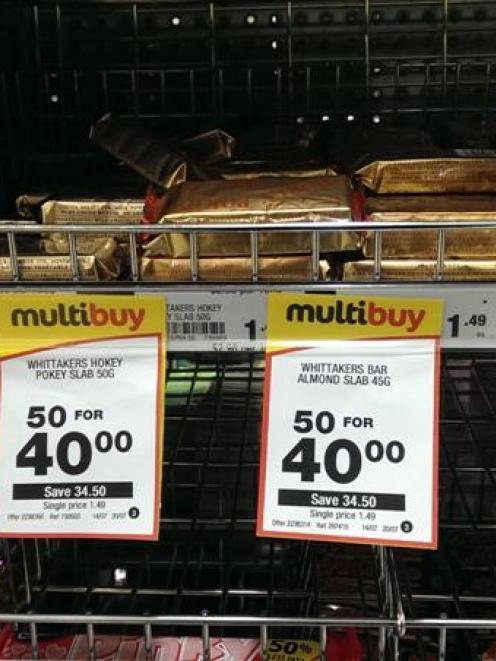 Chocolate slabs on sale in Countdown Dunedin Central yesterday. Photo by Vaughn Elder.