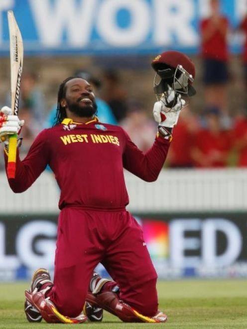 Chris Gayle celebrates reaching his double-century against Zimbabwe in Canberra. REUTERS/David Gray