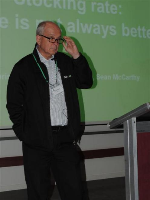 Chris Glassey discusses the ups and downs of stocking rates. Photo by Sally Brooker.