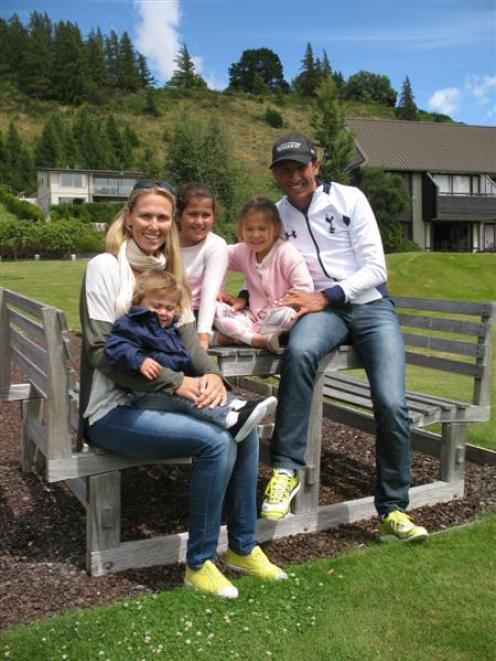 Chris McCormack (39) with his family, Emma, Flynn (1), Tahlia (9) and Sienna (6), in Wanaka....