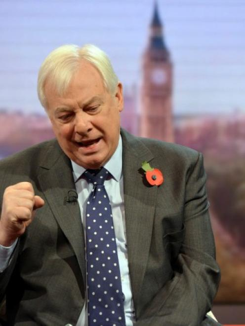 Chris Patten, chairman of the BBC Trust, speaks on the Andrew Marr political talk show at BBC...