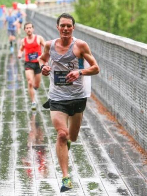 Christchurch's Adam Jaques on his way to winning the Queenstown International Marathon half...