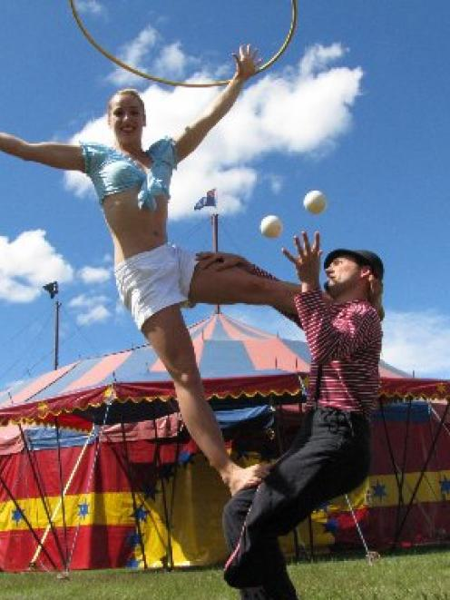 Circus Aotearoa performers Olivia Watts (20) and Pascal Haering (33) demonstrate their skills at...