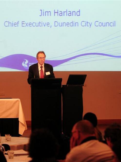 City council chief executive Jim Harland addresses the Dunedin City Forum yesterday. Photo by...