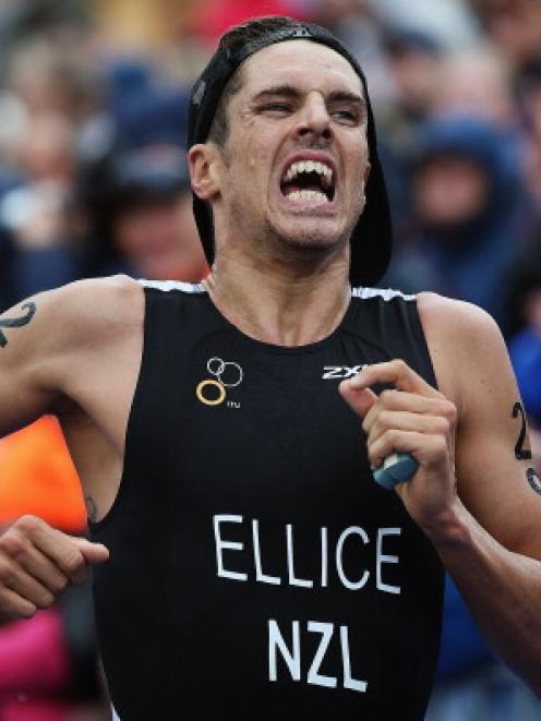 Clark Ellice of New Zealand races in the 2012 ITU Elite Men's World triathlon Grand Final in...