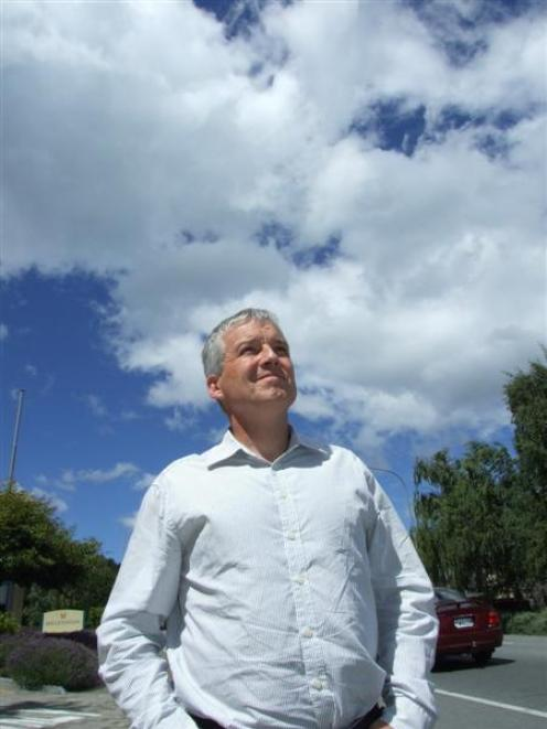 Climate conference co-chairman Dr Greg Bodeker checks  the atmosphere in  Queenstown. Photo by...