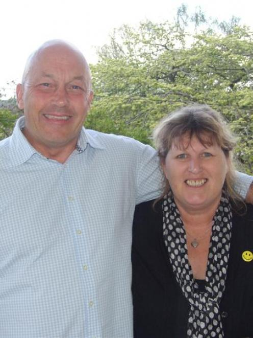 Clutha Mayor Bryan Cadogan celebrates his re-election at home with wife Allyson on Saturday....