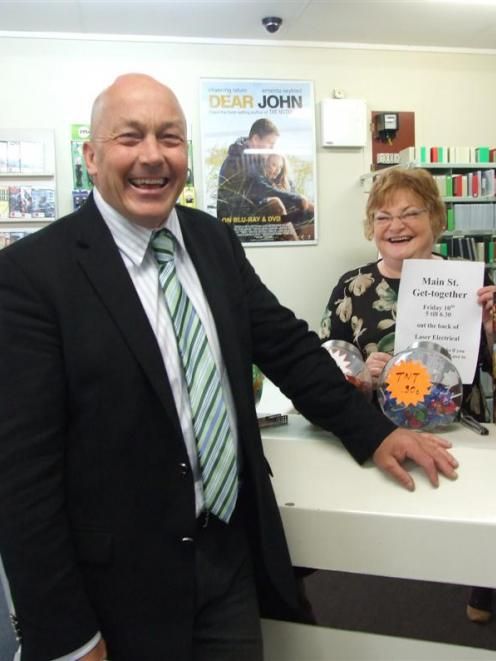 Clutha Mayor Bryan Cadogan invites Milton Video owner Jan Hunt to attend a retailers' gathering...
