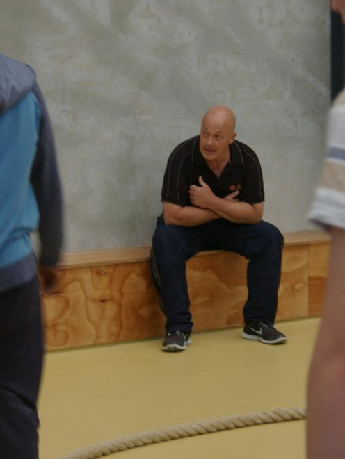 Clutha Mayor Bryan Cadogan takes a breather during the warm-up at Ready, Steady, Work at the...