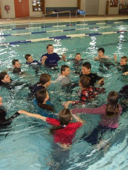 Clyde School year 5 and 6 pupils learn how to swim with the current at the Molyneux Aquatic...