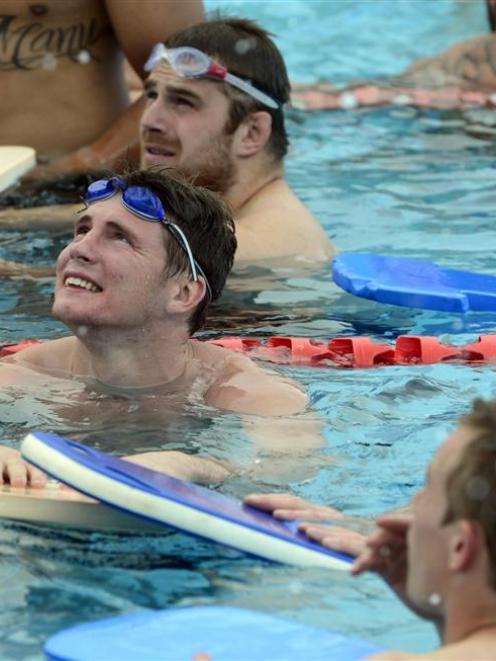 Colin Slade keeps up his fitness with some swimming at the St Clair Hot Water Pool this week....