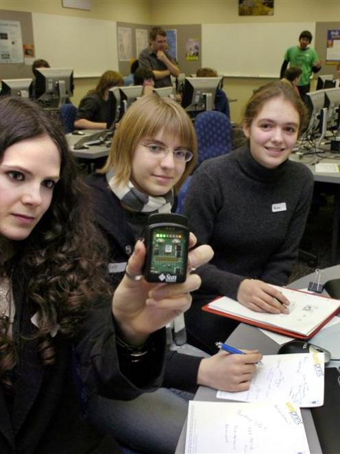 """Columba College pupils Amy Anderson, Lee White and Anna Fields hope their idea of using """"Sun Spot..."""