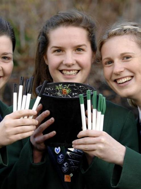 Columba College Re-think Green young enterprise team members (from left) production manager Sarah...