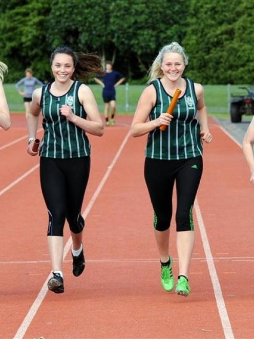 Columba College relay runners (from left) Analise Cowie, Laura Saville, Zoey Flockton and Maddy...