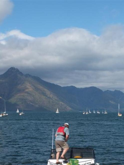 Competitors in the annual Donald Hay Classic race from Queenstown to Kingston  on Friday. Photo...