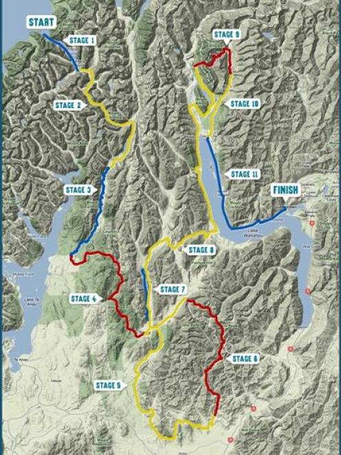 Competitors  will tackle 126km of trekking (red lines), 279km of mountain biking (yellow lines)...