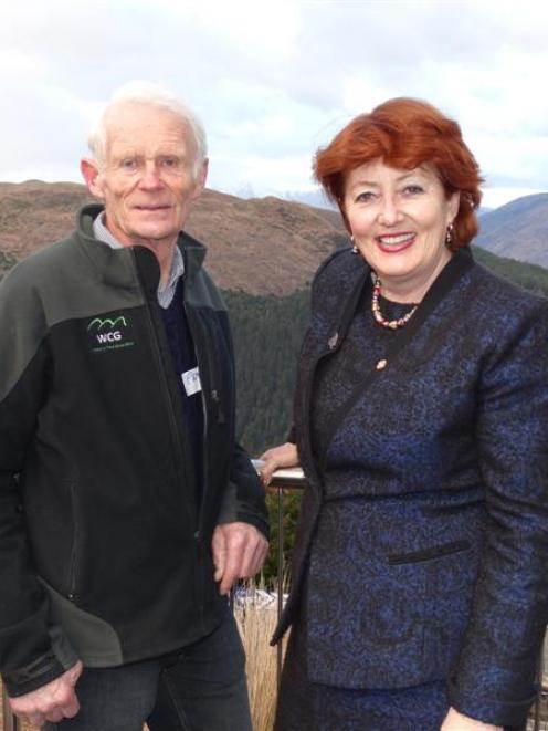 Conservation Minister Maggie Barry and Wakatipu Wilding Conifer Control Group co-chairman Peter...