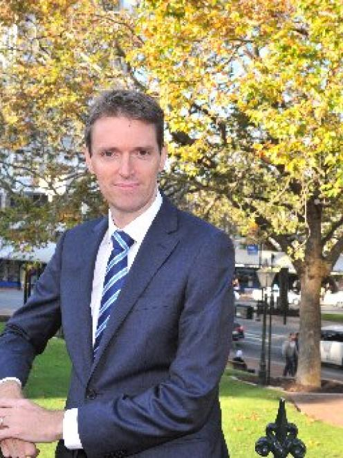 Conservative Party leader Colin Craig in the Octagon yesterday. Photo by Linda Robertson.