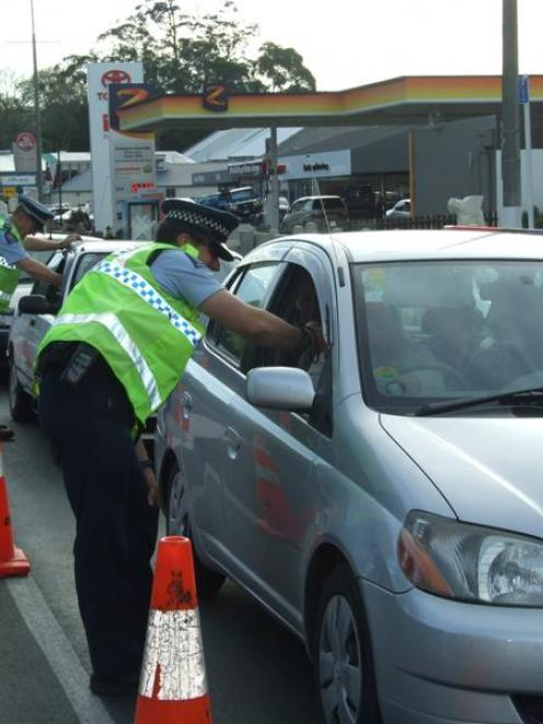 Constable Patrick Greaney, of the Alexandra-based rural drink-drive team,  operates at a...