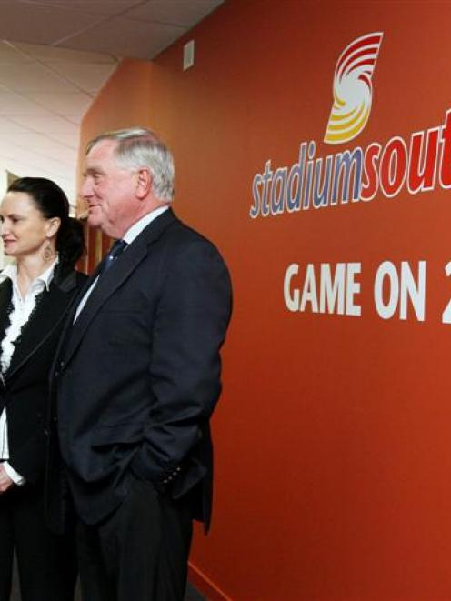 Contemplating the future of Stadium Southland in Invercargill yesterday are (from left) stadium...