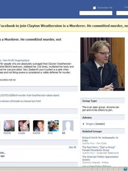 Contempt? This Facebook group was started during the Weatherston trial and taken down after the...