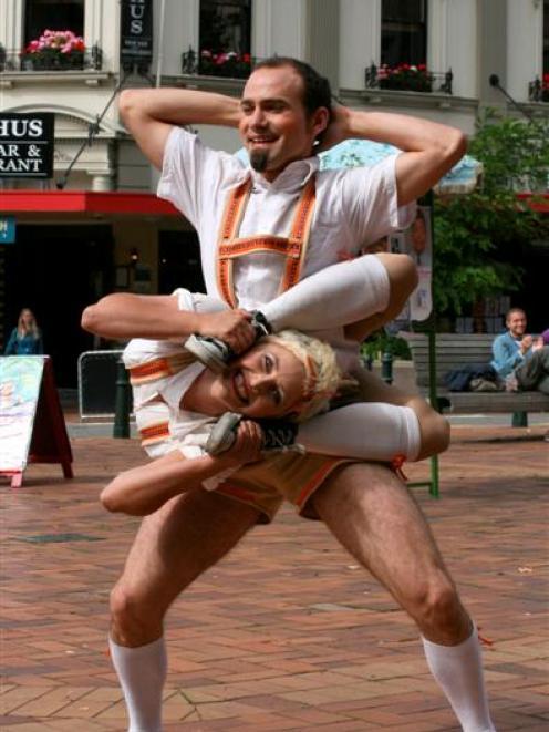 Contortionists Jemadeekara Lewandowski-Porter, of Tasmania, and Pascal Haering, of Basel,...