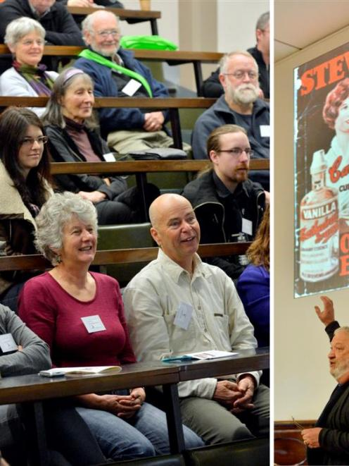 Cookbook collector and author David Veart (right) entertains New Zealand Sceptics Conference...