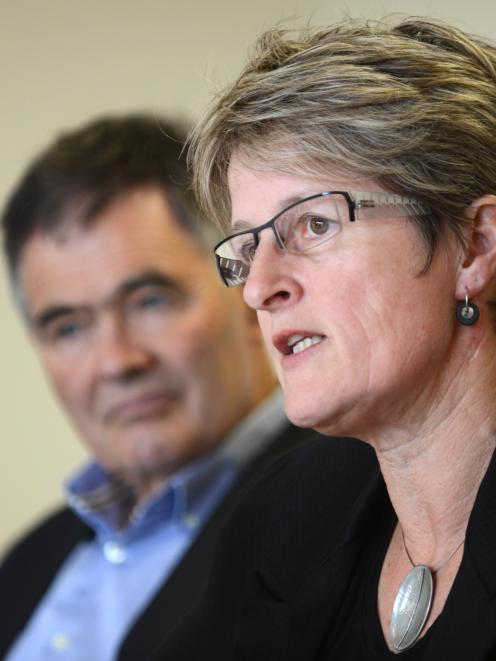 Dunedin City Council chief executive Sue Bidrose and Mayor Dave Cull answer questions yesterday...