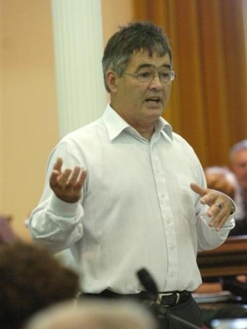 Councillor Dave Cull speaks against the stadium at a Dunedin City Council meeting in February....
