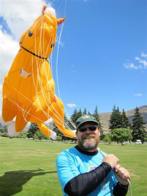Craig Hansen, from Peter Lynn Kites, of Ashburton, at the kite display on Saturday. Photo by Mark...