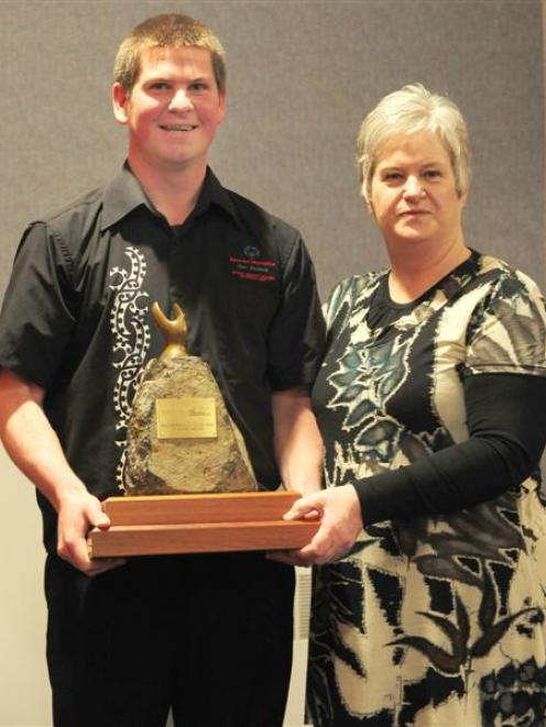 Craig Torrance and Carol Melville, of Special Olympics New Zealand Otago Club, with the...